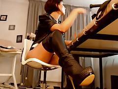 Leather webcam girl