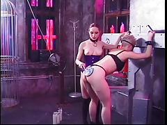 Slut in bondage gets punished by her sexy girlfriends