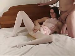 my wifes really hairy pussy squirting through pantyhose