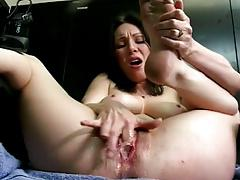 Dirty talking raven fingers pussy and squirts