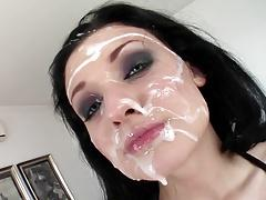 5 Men Bukkake on Beautiful Face