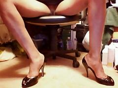 Sexy Black Open-sided Peep toe high heels and upskirt