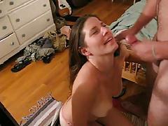 big titts brunette sucks and facial