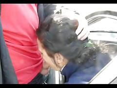 Slut gives bj from window of car.