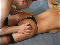 ITALIAN SHEMALE 3  anal blonde tranny with a man