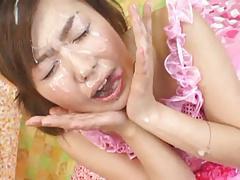 Rino Kamiya - Pink Dress Bukkake