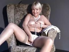Mature Mom upskirt, flashing, fingering smooth shaved pussy