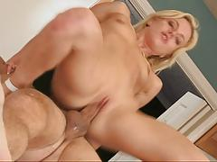Blonde chick banged in the kitchen