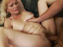 Mature blonde satisfies young cock