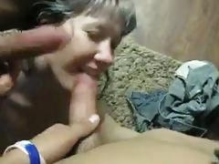 wife sucks at me and at the friend