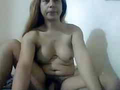 Filipino ladyboy jerking off and smokes
