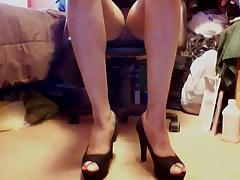 Bold Black Suede Peeptoe High heels and upskirt