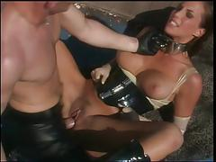 Big tits whore in latex banged outdoors by a guy in leather pants