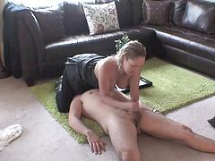 pantyhose facesitting and handjob