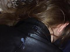 cumshot on back of cute girl in leather jacket part 2