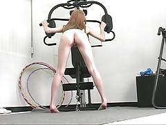 Brunette babe with cute ass rides a huge dildo