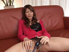 Slutty brunette gets a toy shoved in her cunt before hard bangig