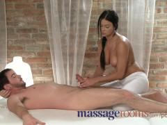 Massage Rooms Innocent and cute black haired beauty rides both guys hard