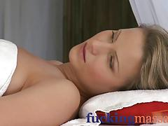 Massage Rooms Tight blonde has soppy wet pussy opened up