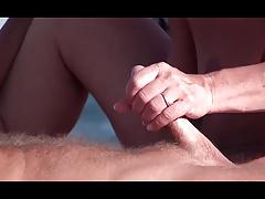 French nudist beach handjob blowjob brunette voyeur