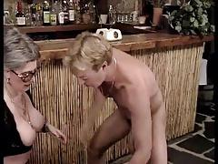 Two lesbian granny fuck with a men.