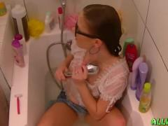 Fully Clothed Teen Shaving Pussy