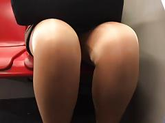 mature upskirt legs tights in metro part 2