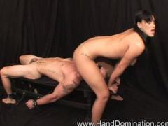 Bondage handjob and facesitting