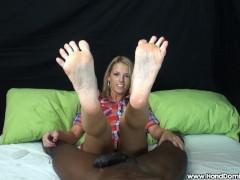 Blonde Uses Feet to Milk BBC