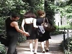 Two amateur Arab whores get fucked outside in public