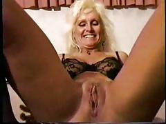 Black friend pounds and creampie a blonde mature slut