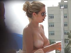 Topless beach girl with massive tits - Part 2