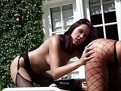 British slut Flick Shagwell in lesbian action outdoors