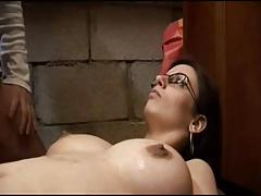 Cute french MILF with glasses sucking and fucking
