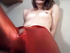 Tiny tits on skin tight outfit girl rubbing pussy