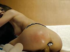 Slave girl fucks her holes with toys in brutal fashiom