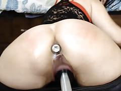 Pussy drips from being fucked hard, anal toy inserted