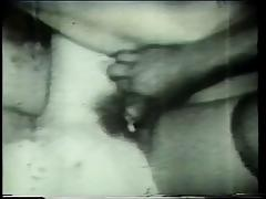 Short hair perky tit vintage porn girl shows off her pussy and sucks dick