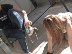 Slave lick soles and feet of Mistress Claire - dogstye footslave F/F