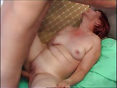 Red-haired Granny seduces cute college boy