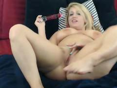 Blonde camgirl talks sexy during deepthroat and toy play