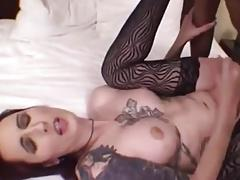 Black Guy Sticks Tranny repeatedly up the Ass until she cums