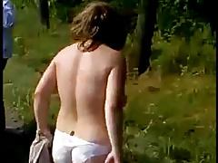 Russian mature strips outdoor